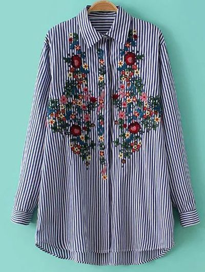 Striped Floral Embroidered Shirt - STRIPE S