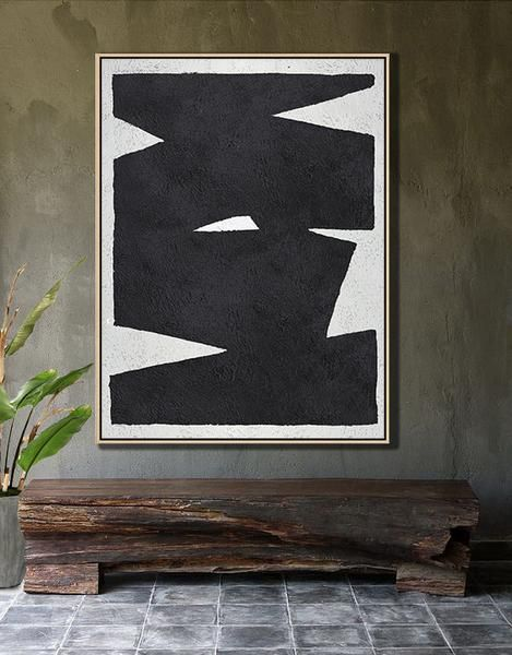 Hand-painted black and white Minimal painting on canvas – CZ Art Design ( Celine Ziang Art)