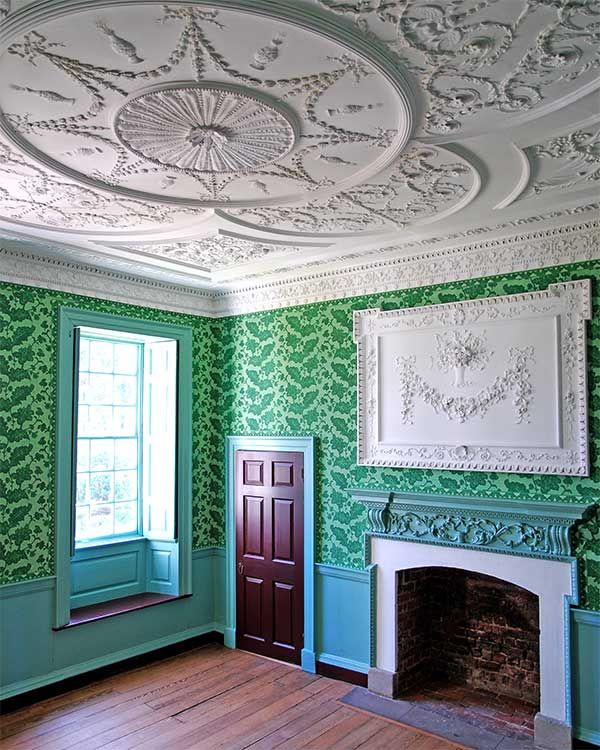 Kenmore, 1770s, Fredericksburg, Virginia ~ wallpaper & painted finishes as restored 2008