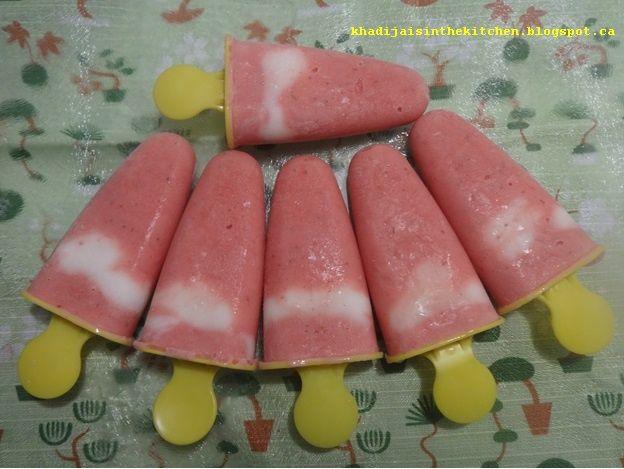 SUCETTES GLACÉES AUX FRAISES / STRAWBERRY ICE POPS / PALETAS DE FRESAS / مصاصات الفراولة المجمدة