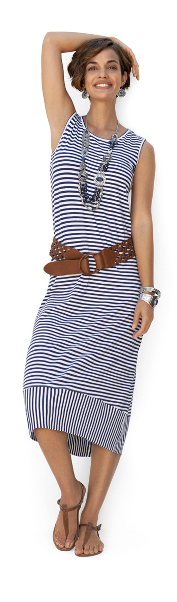 Chico's Stripe Lana Midi Dress