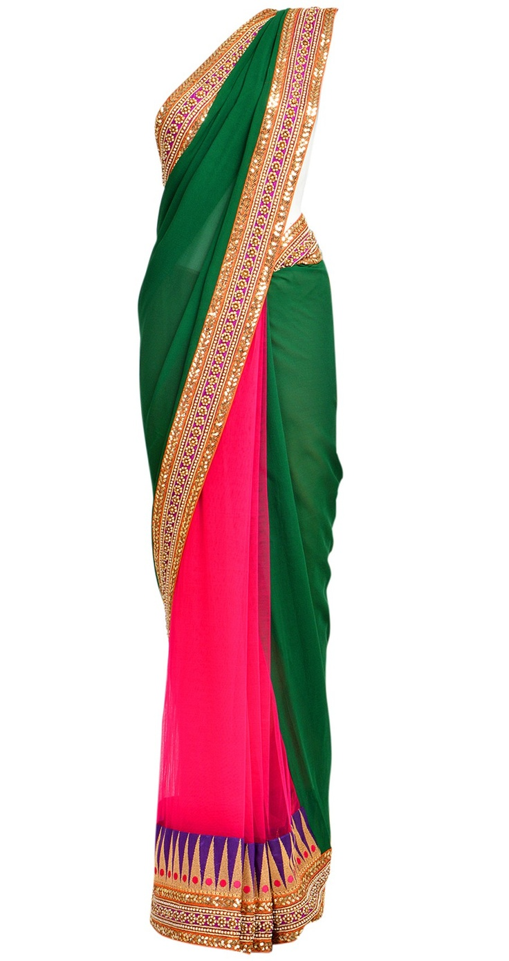 Emerald green and fuschia pink, half net and half georgette sari with temple border. It comes with a matching blouse available only at Pernia's Pop-Up Shop.