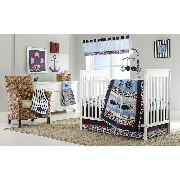 A Whale of a Tale in adventure awaits on the high seas with this classic Nautica Kids - Whale of A Tale collection. Beautifully blended bold geometric prints, applique with embroidery for a contemporary nautical look. Color pallet features navy, light blue, crisp white, and a pop of red.<br><br>The Nautica Kids Whale of a Tale 4-Piece Crib Bedding Set Features:<br><ul><li>4-Piece Crib Set fits a standard size crib mattress 28 inch x 52 inch, sold separately. Appl...