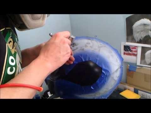 How to custom paint a motorcycle helmet.