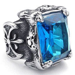 KONOV Jewelry Mens Crystal Stainless Steel Ring, Gothic Dragon Claw, Blue Silver - Mens Rings / Mens Jewelry