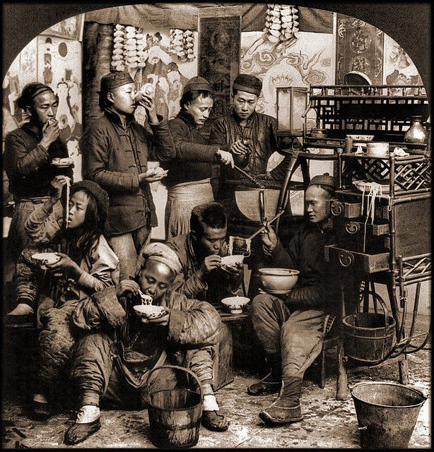 At breakfast, Movable chow shop, Canton, China (1919), Keystone View co.