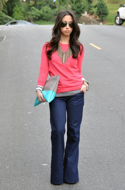 I don't do pink but I love this overall look. A bright solid with a pattern or stripe peeking out.