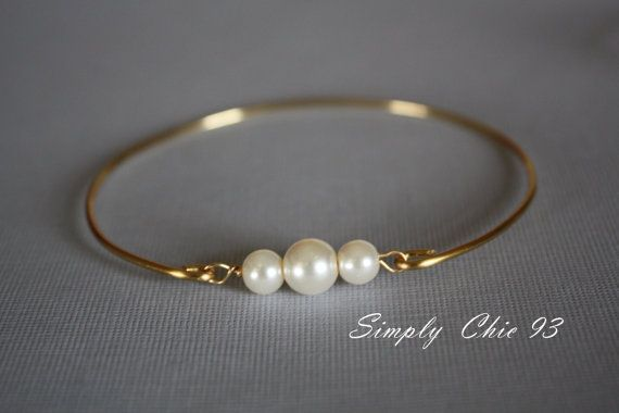 Gold Bangle, Gold Bracelet, Pearl Bangle,Pearl Bracelet, Three pearls, Gold Bangle, Bridal bracelet, Bridesmaid,valentine gifts, on Etsy, $14.00