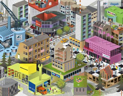 Nils-Petter was commissioned by Spoon Agency to illustrate a super detailed cityscape for The Axel Johnson Group. The illustration - Axville - consists of 7 groups and companies within trade and services sectors; Axel Johnson International (industrial technology) Axfood (retail food market) Axstores (retail within beauty, home and fashion with stores; Åhléns, Kicks and Lagerhaus.) Martin & Servera (restaurant food wholesales) Mekonomen (car part chain) Novax (investment in growing companies…