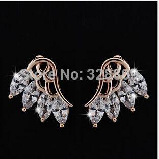 2 pair/lot золото игла AAA роскошь циркон свадебные серьги свадьба серьги ювелирные изделия