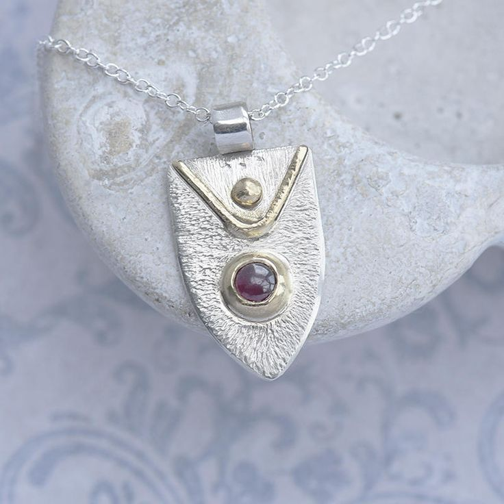 Sterling Silver Pendant with Garnet and Gold Decoration, Garnet Pendant in Heraldic Style, Shield Shaped Garnet Necklace, Birthstone Pendant by ianaJewellery on Etsy
