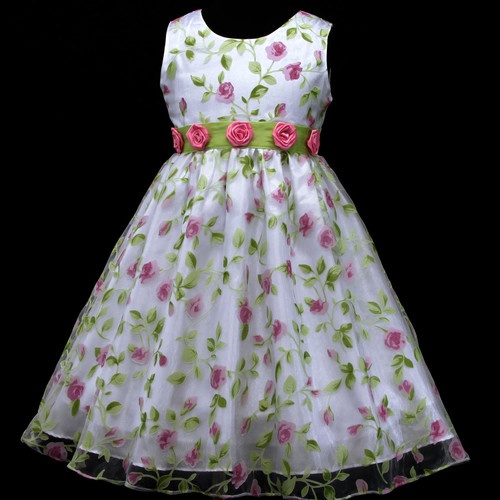 W129 White Green Pink Hotpink Casual Flower Girls Dress 2 3 4 6 7 8 9 10 11 12y | eBay