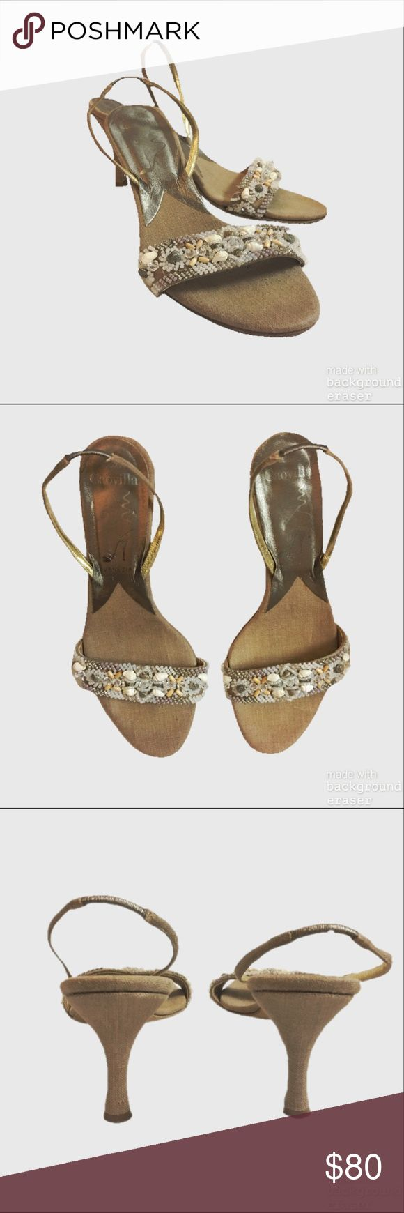 Vintage Rene Caovilla Slingback Sandals Super cute and comfortable vintage slingback sandals. Has beading and seashells covering front strap and an elastic slingback strap. Soles have wear but still have plenty of life left! Rene Caovilla Shoes