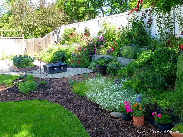 Small Garden in The Backyard Design Ideas with vegetables flowers firepit