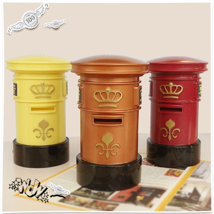 Mailbox plastic piggy bank Coins money box Save money pot ornaments Creative Birthday Gifts