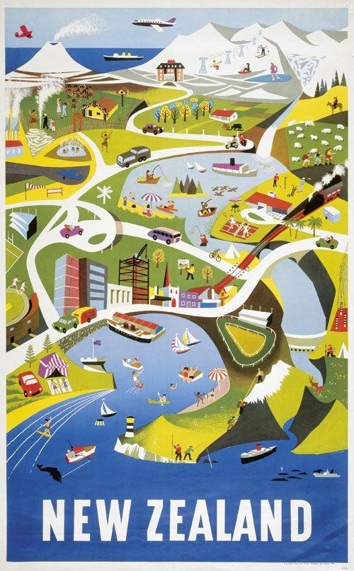 Vintage New Zealand Poster, 1960