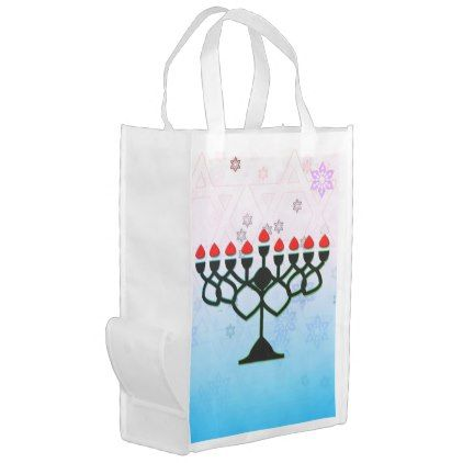 Hanukkah Candles With Snowflakes Reusable Grocery Bag - accessories accessory gift idea stylish unique custom