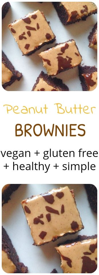 A healthier peanut butter  brownie that is vegan and gluten free. Super fudgy and rich whilst secretly healthy. #vegan #glutenfree #brownie #chocolate #peanut #butter #cacao #cocoa #healthy #easy #simple #snack #dessert #recipe #cleaneating #fitfood