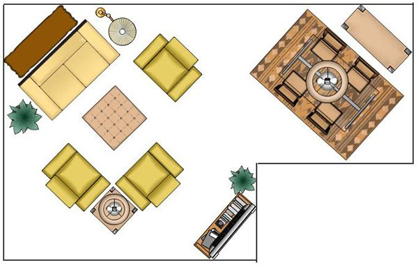 """Our new apartment has a """"L"""" shaped living/dining room combo. This is an idea as to how to use the space."""