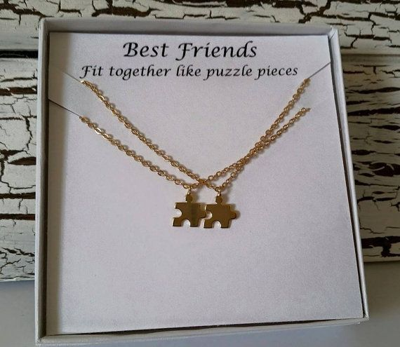 Dainty Gold plated Best Friends Puzzle piece Necklace Set of 2 Necklaces Makes a cute gift for Friends Size Puzzle charm 0.39 Size of chain