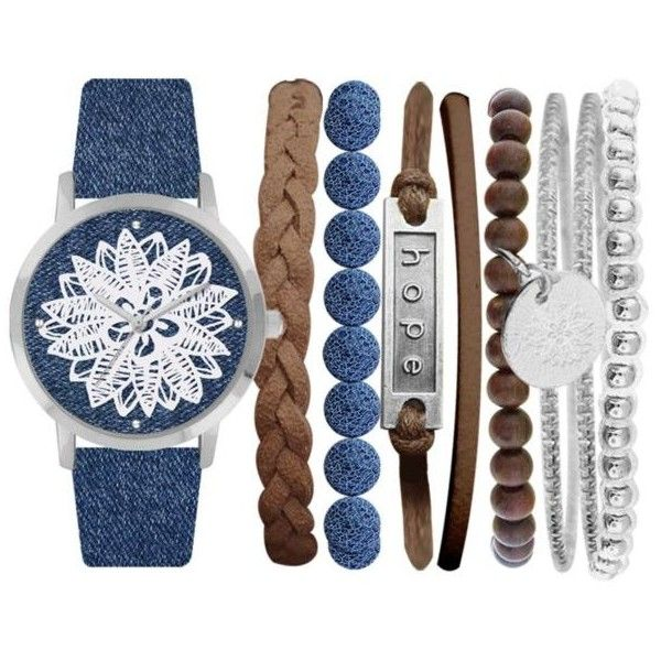 Jessica Carlyle Blue Womens Blue Flower Dial Boho Watch  Bangle Set ($25) found on Polyvore featuring women's fashion, jewelry, watches, blue, blue watches, hinged bangle, flower bangle bracelet, dial watches and bangle watches