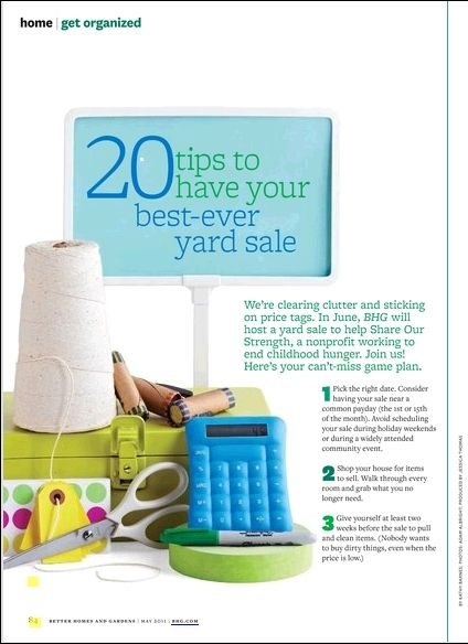 20 Yard Sale tips . . . 5. Price everything with tags or marked painters tape to avoid residue.