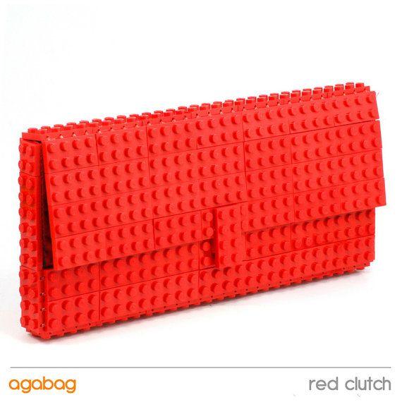 Red clutch made entirely of LEGO bricks  via Etsy.