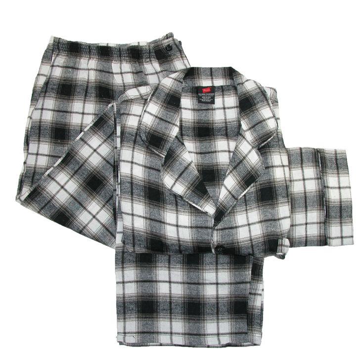 Hanes Mens Big and Tall Cotton Flannel Pajama Set