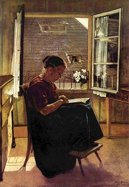 """""""The Artist's Mother in the Little Room"""" by Hans Thoma (1839-1924): Artists, Mothers, Book, Art Readers, Room"""