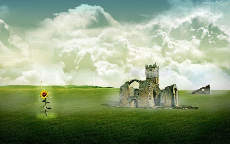 Ruiny, Zamku, Słonecznik, Chmury