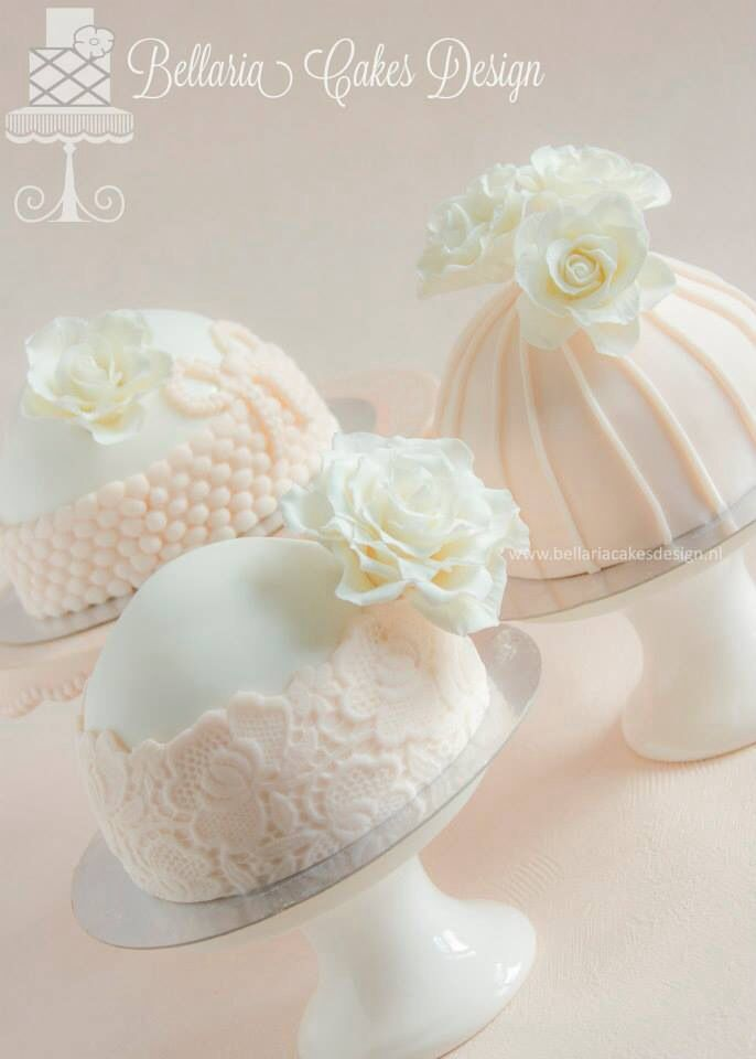Soft Peach Mini Wedding Cakes by Bellaria Cakes Designs