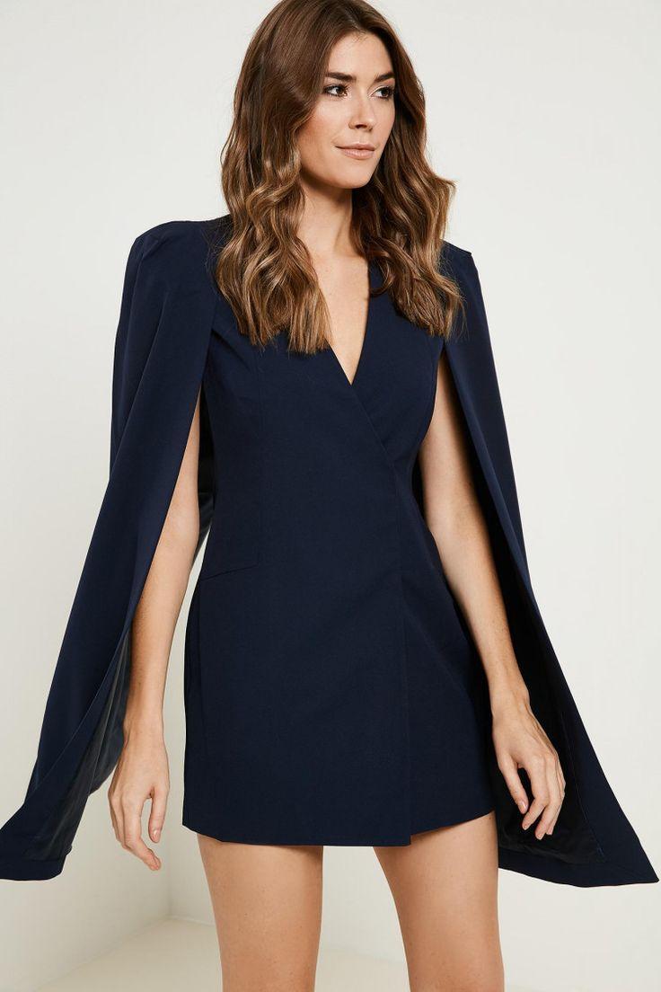 Lavish Alice Split Back Cape Dress - Blue 6