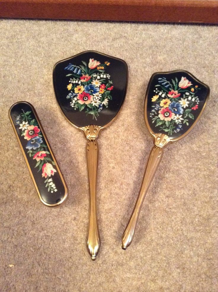 Antique Hand Mirror and Brush - Dressing Table Vintage Set - Embroidered