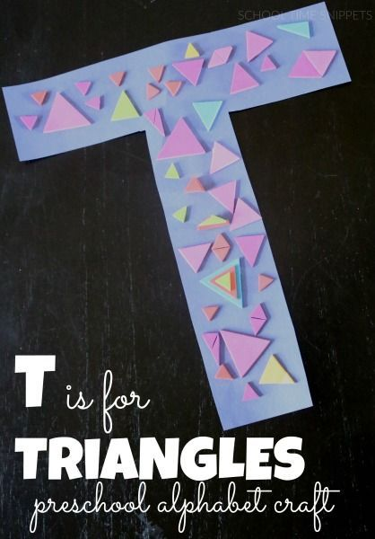 Letter T was our latest alphabet craft.  My 3 year old was kept busy decorating the letter T with TRIANGLES!