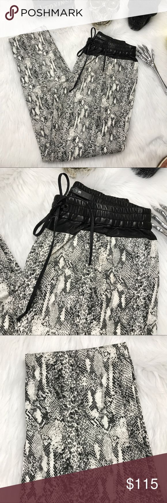 Joe's The Rocker snake skin leather joggers Holy hotness ! Part of Joe's Off Duty Collection, The Rocky Jogger in Python Snake Print is a low rise, drawstring jogger pant in a lightweight, comfort stretch denim with a python print and super soft hand feel
