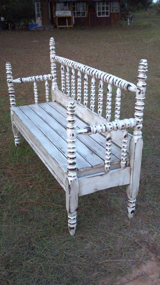 Vintage Headboard Bench in Distressed by cottageandcabin on Etsy, $375.00