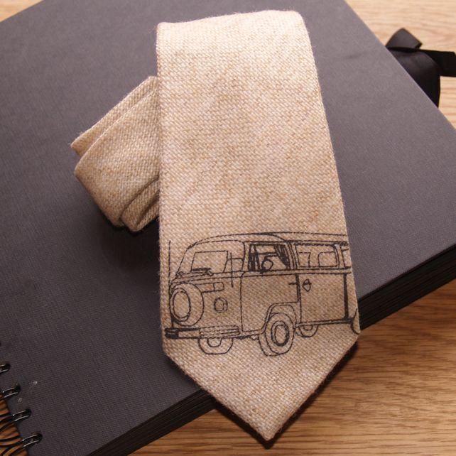 Camper van on butternut tweed tie £17.00