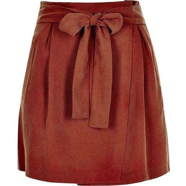 River Island Rust tied waist mini skirt (1.735 RUB) ❤ liked on Polyvore featuring skirts, mini skirts, brown, red mini skirt, short skirts, tall skirts, red a line skirt and tie waist skirt