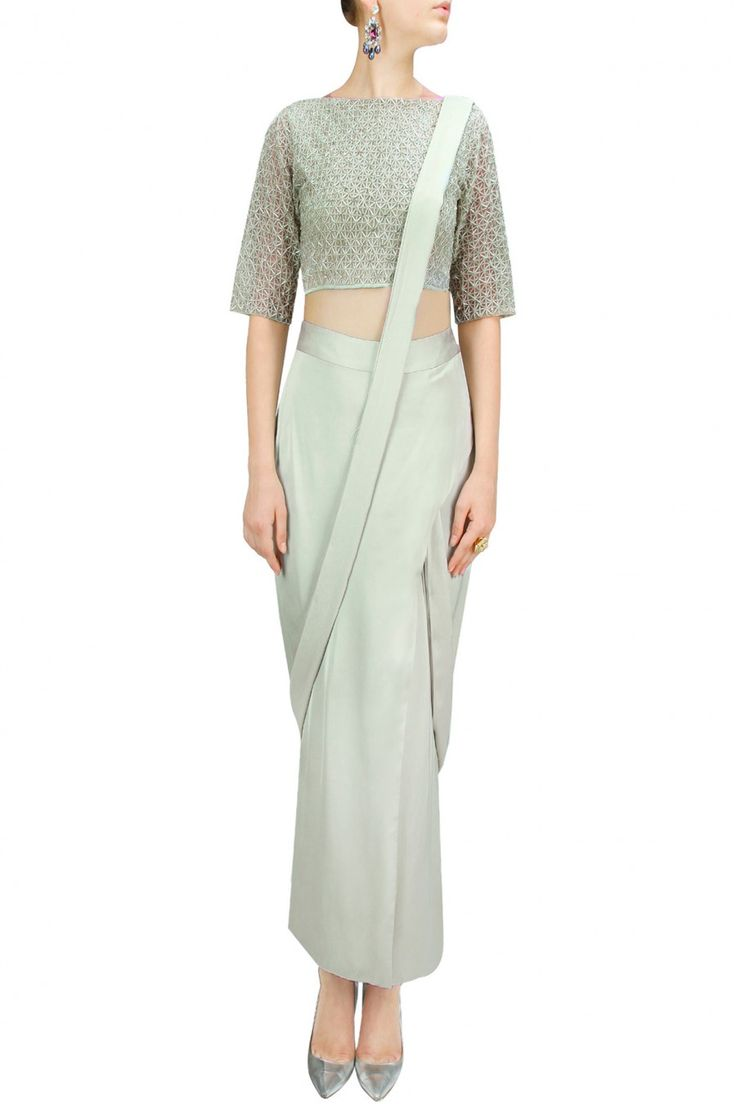 Pale green wrap skirt with salli work top BY NEETA LULLA. Shop now at:http://www.perniaspopupshop.com/ #perniaspopupshop #palegreen #wrapskirt #saaliwork #top #designer #style #fashion #trend #label #love #NeetaLulla #chic #classy #beautiful #musthave #happyshopping