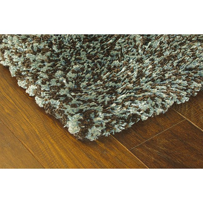 Style Haven Manhattan Tweed Blue/ Brown Shag Rug (2'3 x 7'9) (Synthetic, Solid)