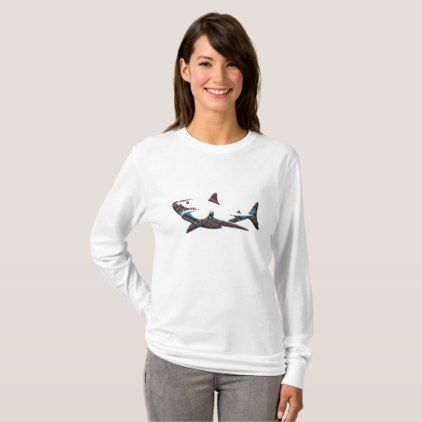 #women - #Aztec Shark T-Shirt