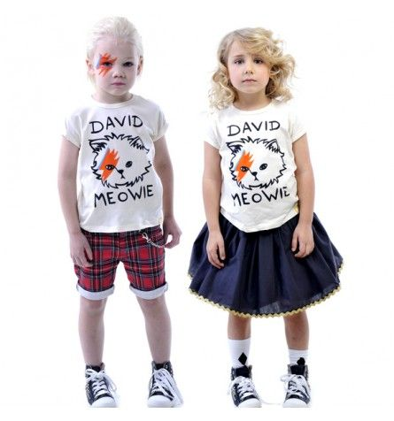 David Meowie Short Sleeve T-Shirt Cream | Girls T-Shirts, Shirts and Tops | Rock Your Baby