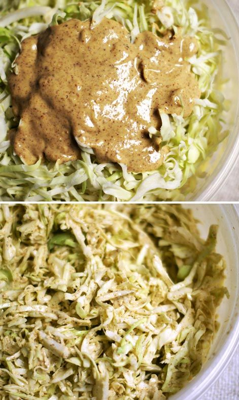 Creamy Asian Coleslaw (vegan) makes about 1/2 cup  Ingredients:  For the dressing:  1/4 cup creamy raw almond butter 1/4 cup fresh lime juice 1 tablespoon tamari (wheat-free soy sauce) 1 small clove garlic, minced (about 1/2 tsp.) freshly minced ginger, to taste (I used about 1/2 tsp.) liquid stevia, to taste (I used 8 drops)  For the coleslaw:  7 oz. shredded cabbage (plus any extra toppings you like)