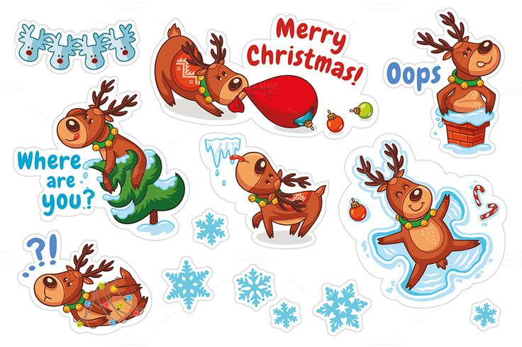 Christmas sticker set. Santa's deer by PenguinHouse on @creativemarket