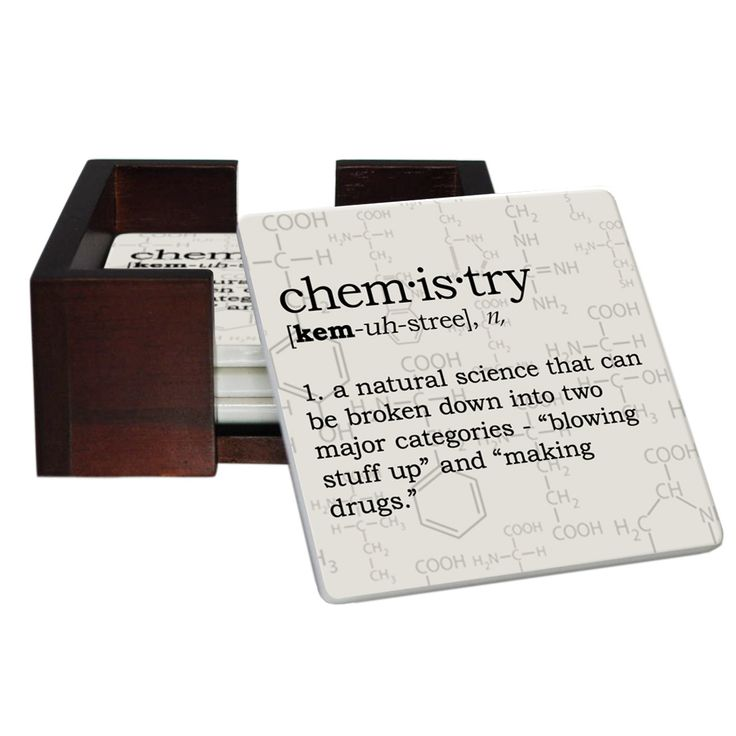 Chemistry Definition Coaster Set - Sandstone Tile 4 Piece Set - Caddy Included