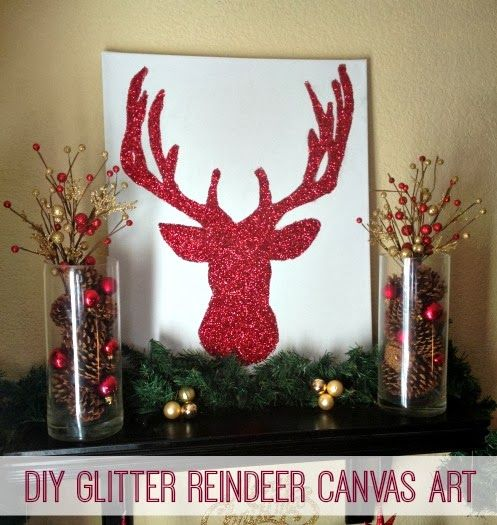 DIY Glitter Reindeer Canvas Art by Inspiration for Moms - Add some sparkle to your holiday decor with the easy tutorial! #Reindeer #ChristmasDecor