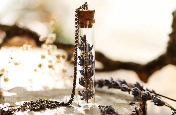 fairy jewelry handmade necklace silver pendant small glass bottle Cork