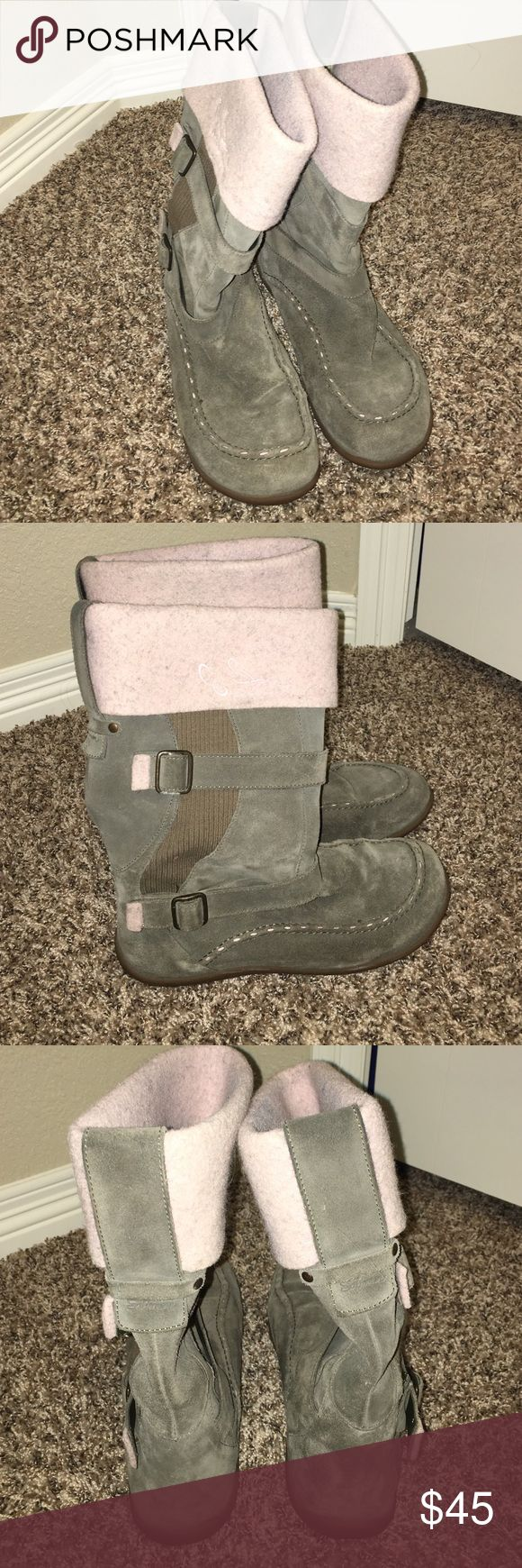 Salomon Suede Winter Boots Awesome Salomon boots. Suede is a greenish gray with pink cuff at the top. Beautiful buckle and stitch detailing. Only worn a couple of times! These boots are so pretty! Salomon Shoes Winter & Rain Boots