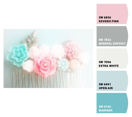 Nursery Colors: Grey, White, Pink, Aqua (Soft Teal or Turquoise) Chip It! by Sherwin-Williams – Home