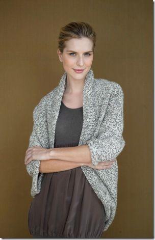 Gorgeous womens cardigan shrug = easy free knitting pattern 2 skeins of Lion Brand Yarn 150-098F Fishermen's Wool Yarn, Natural